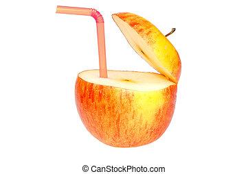 abstrakt, dricka, äpple