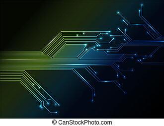 abstrakt, elektronisk strømkreds, baggrund