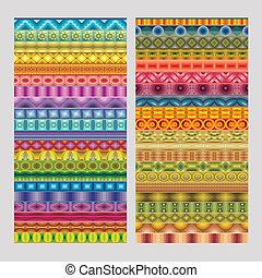 abstrakt, etnisk, geometrisk, vektor, remsa, mönster
