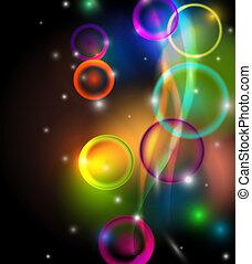 abstrakt, färgrik, bakgrund, på, svart