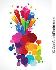 abstrakt, färgrik, explosion, med, stjärnor
