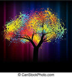abstrakt, färgrik, träd., med, avskrift tomrum, .eps, 8