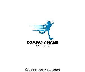 abstrakt, fødsel, løb, vektor, konstruktion, skabelon, duelighed, logo, sport, mand