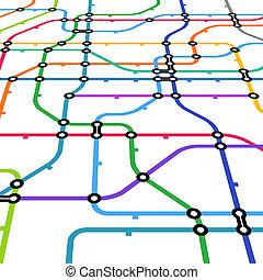 abstrakt, farbe, metro, schema, in, perspektive