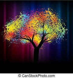 abstrakt, farverig, træ., hos, kopi space, .eps, 8