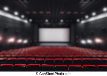 abstrakt, fläck, tom, ror, av, röd, teater, eller, film, seats., stol, in, bio, hall., komfortabel, fåtölj