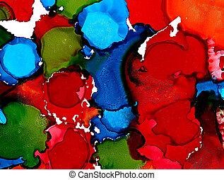 abstrakt, fläckar, applicera, grön, slösar, röd
