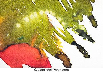 abstrakt, fläckar, lysande, gröna vita, målning, röd