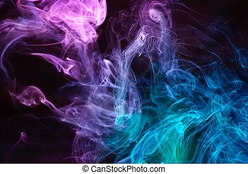 abstrakt, flerfärgad, röka, .
