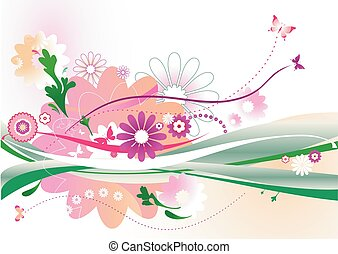abstrakt, floral entwurf