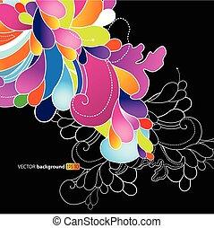 abstrakt, flowers., hintergrund, gefärbt
