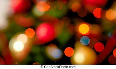 abstrakt, fokus, bild, licht, bokehs, auf, weihnachtsbaum