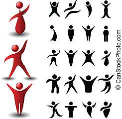 abstrakt, folk, symbol, sätta