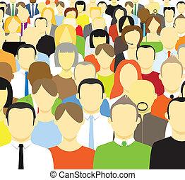 abstrakt, folkmassa, folk