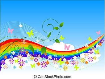 abstrakt, forår, baggrund
