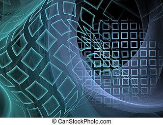 abstrakt, fractal, hintergrund, technologisch