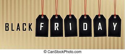 abstrakt, fredag, etikett, papper, svart fond, hängande, befordran