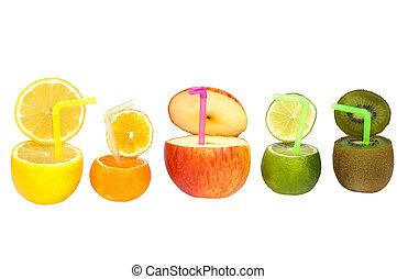 abstrakt, frugt, drink., farverig