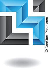 abstrakt, fyrkant, rektangulär, ikon