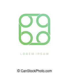 abstrakt, fyrkant, spiral, logo, design.