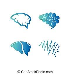 abstrakt, gehirn, vektor, schablone, logo, ikone
