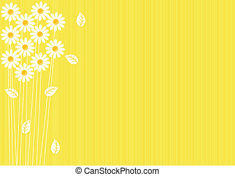 abstrakt, gelber hintergrund, gänseblümchen