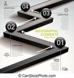 abstrakt, gennemstrømning kort, infographics