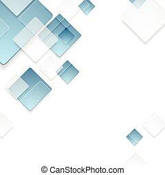 abstrakt, geometriske, teknologisk., blå, kvadraterer, konstruktion