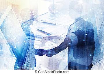 abstrakt, geschaeftswelt, handshake., begriff, von, partnerschaft, und, teamwork., doppelte belichtung