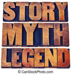 abstrakt, geschichte, wort, legende, mythos