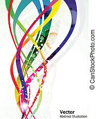 abstrakt, glänsande, färgrik, våg