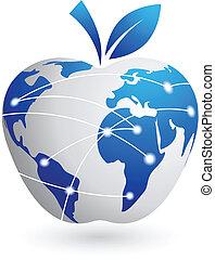 abstrakt, -, globale, æble, teknologi, landsby