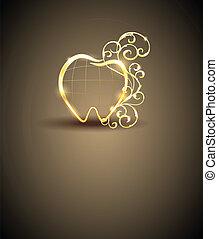 abstrakt, goldenes, zahn