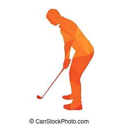 abstrakt, golfspieler, silhouette