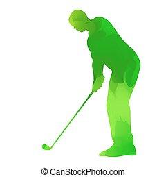 abstrakt, grün, spielen golf spieler