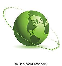 abstrakt, grüner globus