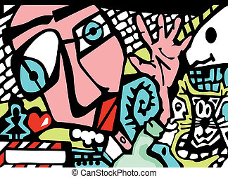 abstrakt, graffiti, stil, bakgrund