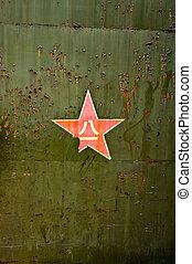 abstrakt, grunge, militär, grön fond, med, röd, star.