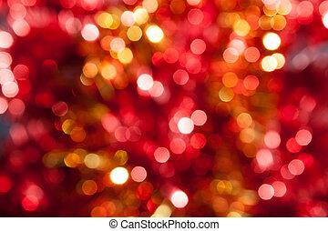 abstrakt, gul, defocused, bakgrund, jul, röd