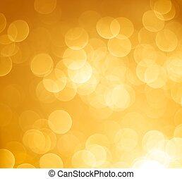 abstrakt, gyllene, bokeh, lätt, bakgrund