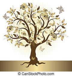 abstrakt, gyllene, träd