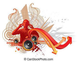 abstrakt, hörlurar, -, illustration, vektor, musik, lyssnar...