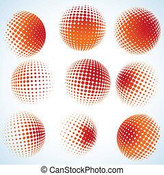 abstrakt, halftone, cirkel, design., eps, 8