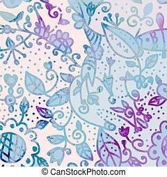 abstrakt, -, hand, aquarell, hintergrund, blumen-, gezeichnet, karte