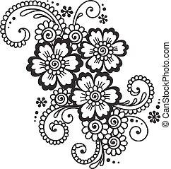 abstrakt, hand-drawn, mehndi, blume, henna, verzierung