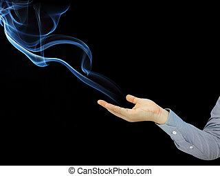 abstrakt, hand, rauchwolken, hintergrund, besitz