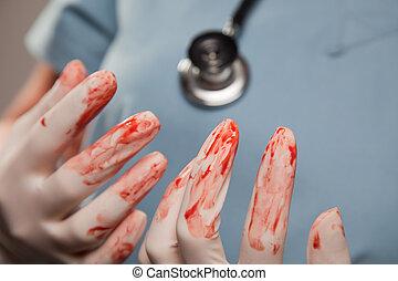 abstrakt, handschuhe, chirurgisch, blutig