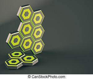 abstrakt, hexagon, på, skum fond