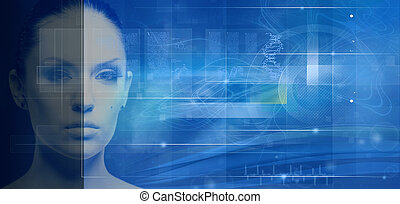 abstrakt, hintergruende, technik, genetisch, design, biotechnologie, dein