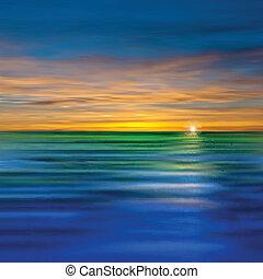 abstrakt, hintergrund, mit, wolkenhimmel, und, meer, sonnenaufgang